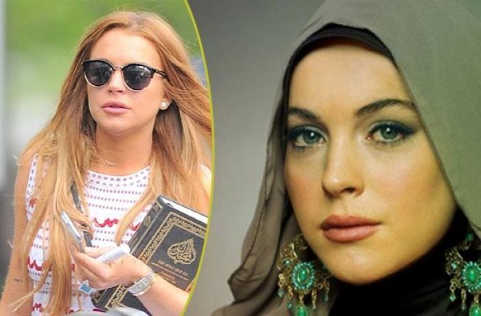 Исломни қабул қилган Линдси Лохан «Модалар ҳафталиги»га рўмолда келди (видео)