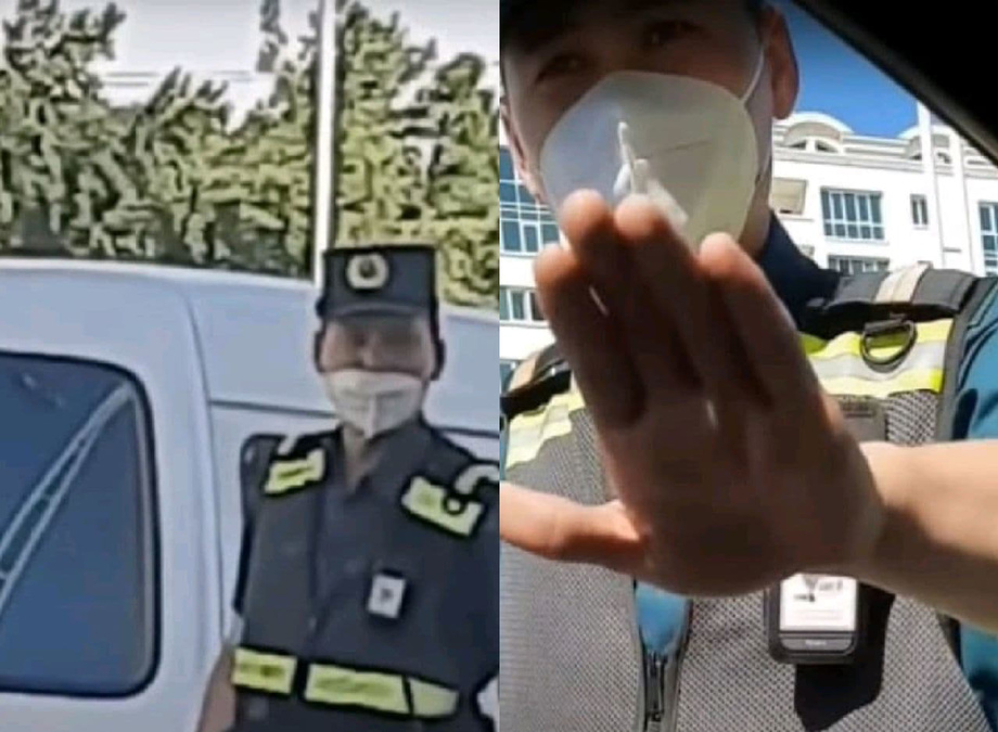 В Ташкенте сотрудник ДПС показал средний палец водителю. В УБДД начали проверку