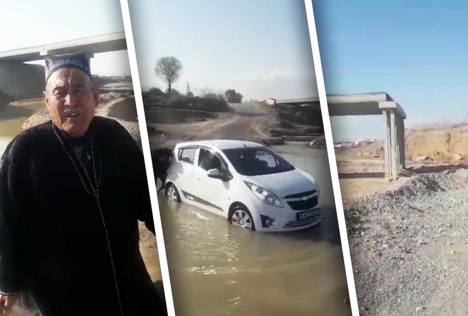 «Suv kechib o'tishga majbur» — Sherobodda ko'prik bitmasdan qolib ketdi (video)