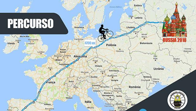 Португалиялик хаста болаларга ёрдам бериш мақсадида «ЖЧ-2018»га велосипедда йўл олди