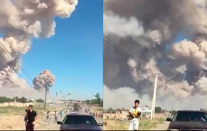 Момент взрыва в воинской части Казахстана попал на видео (фото+видео)