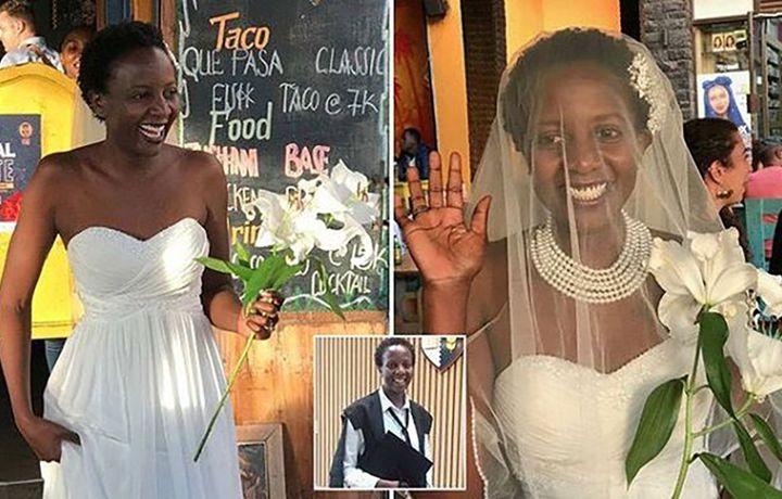 Девушка вышла замуж без жениха (фото+видео)