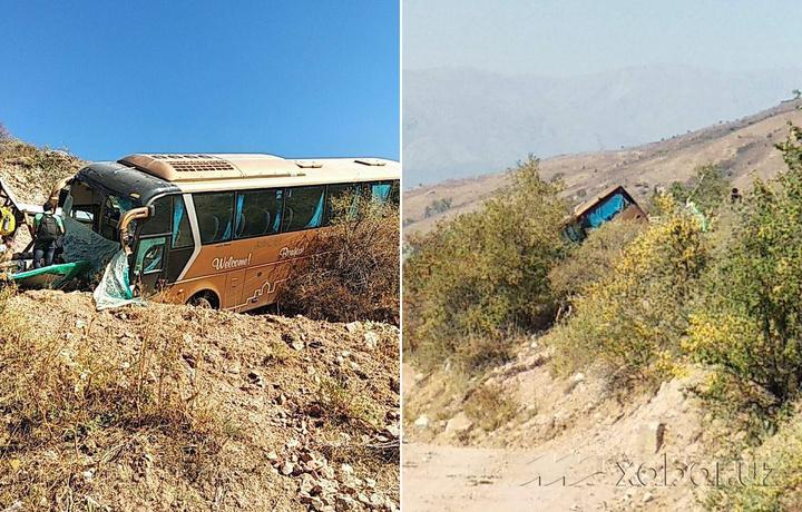 Чимён йўлида автобус пастликка тушиб кетди (фото)