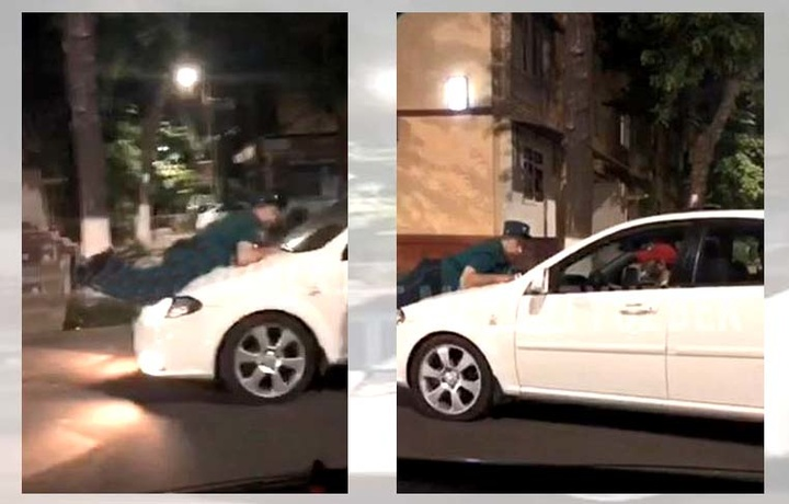 В Ташкенте водитель «Ласетти» прокатил на капоте автомобиля инспектора ДПС