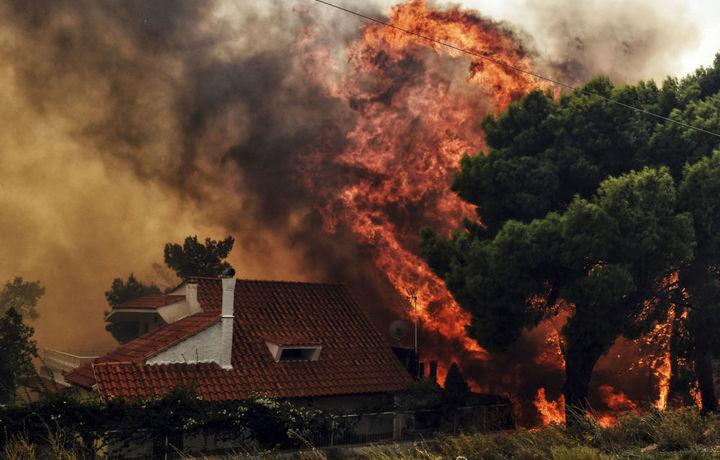 Адское пламя: неконтролируемый пожар в Афинах сжигает все на своем пути (фото)
